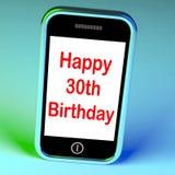 Den lyckliga 30th födelsedagen Smartphone betyder lyckönskan på att nå Royaltyfria Bilder