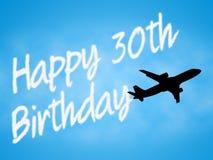 Den lyckliga trettionde födelsedagen indikerar 30th gratulera och hälsningar Royaltyfria Bilder