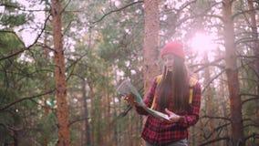 Den lyckliga turist- attraktiva unga kvinnan reser i skogen som ser översikten och ser därefter runt om undersökande trä