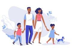 Den lyckliga unga den afrikansk amerikanfamiljfarsan, mamman, sonen, dottern och hunden går på stock illustrationer