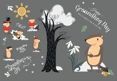 Den lyckliga uppsättningen för den Groundhog dagen, den gulliga murmeldjuret i cylinderhåll blommar - den vita snödroppen, föruts stock illustrationer