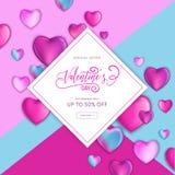 Den lyckliga valentindagSale reklambladet eller affischen med färgrika hjärtor 3d och handen dragen bokstäver planlägger, älskar  vektor illustrationer