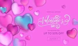 Den lyckliga valentindagSale reklambladet eller affischen med färgrika hjärtor 3d och handen dragen bokstäver planlägger, älskar  royaltyfri illustrationer