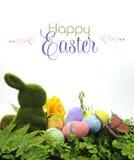 Den lyckligt påskplatsen med mossakaninen och färgrikt blänker ägg, Arkivfoton