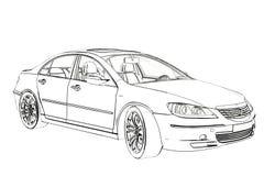 Den lyxiga bilen Acura RL skissar illustration 3d royaltyfri illustrationer
