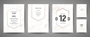 Den lyxiga bröllopräddningen datumet, inbjudan Cards samlingen med prickar för guld- folie och mallen för monogramlogodesign vektor illustrationer