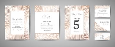 Den lyxiga bröllopräddningen datumet, inbjudanmarin Cards samlingen med Wood textur för guld- folie Moderiktig räkning för vektor vektor illustrationer