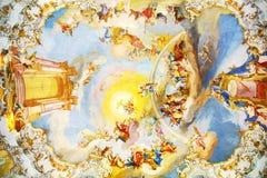 Den lyxiga interioren av den kyrkliga Wieskirchen Fotografering för Bildbyråer