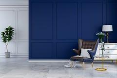 Den lyxiga moderna ruminredesignen, blå vardagsrumstol med den vita lampan och vitserveringsbordet på den blåa väggen /3d framför Royaltyfri Bild