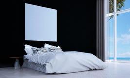 Den lyxiga sovruminredesignen och väggen mönstrar bakgrunds- och havssikt Arkivbilder