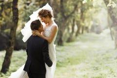 Den lyxiga stilfulla unga bruden och brudgummen på bakgrunden fjädrar s arkivfoto