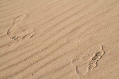 Den mänskliga foten på sanden Arkivfoton
