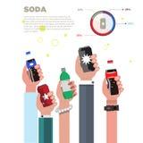 Den mänskliga handen med sodavattenflaskan och kan sodavattenbegrepp Plan design Royaltyfri Bild