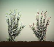 Den mänskliga handen ser som träd vektor illustrationer