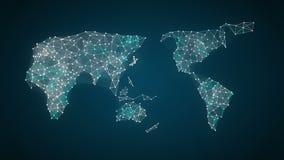 Den mänskliga symbolen förbinder den globala världskartan, prick gör global kommunikation anslutningar för begrepp för tavla för  stock illustrationer