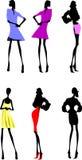 den märkes- modeflickasilhouetten skissar Royaltyfri Bild