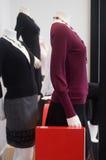 den märkes- skärmmodedetaljhandeln shoppar fönstret Royaltyfri Bild