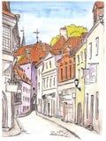 Den målade handen skissar av gatan i gammal europeisk stad stock illustrationer