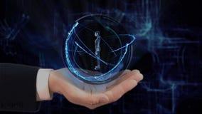 Den målade handen visar kvinnan för begreppshologrammet 3d på hans hand lager videofilmer