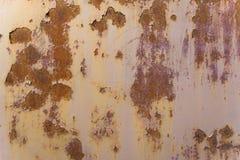 Den målade metallväggen med stora rostiga fläckar, skrapar och knäcker Arkivfoto