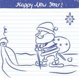 Den målade Santa Claus illustrationen för det nya året - skissa på skolaanteckningsboken Royaltyfri Bild