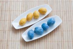 Den målade tokiga gulingen och blått pläterar på fotografering för bildbyråer