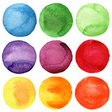 Den målade vattenfärgen cirklar samlingen Royaltyfri Fotografi
