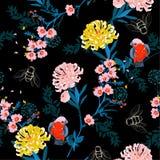 Den mörka japanträdgård somnatten blommar blommor, lämnar filialer, a royaltyfri illustrationer