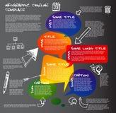 Den mörka mallen för den Infographic timelinerapporten som göras från anförande, bubblar vektor illustrationer
