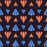 Den mörka retro sömlösa modellen med apelsin- och blåttdiamanten formar Arkivbilder