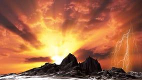 Den mörka schackningsperioden för bergsolnedgångtid fördunklar och blixt, materiellängd i fot räknat stock video