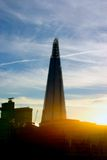 den 306m vinkeln är för london för landmarken för hdr för eu för byggnadskonstruktion willen för skyen den nya scrapper skärvan s Arkivfoto