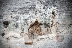 Den Madara ryttaren är ett tidigt medeltida stort vaggar lättnad, Bulgarien, UNESCOvärldsarv Madarski konnik Arkivbilder