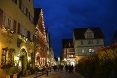 Den magiska Rothenburg obderen Tauber, Tyskland, på jul arkivbilder