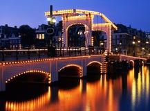 Den magra bron, Amsterdam, Holland. Arkivbilder
