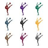 Den magra flickan med bollen i handdanssportar dansar Flickan är förlovad i gymnastik enkel symbol för aktiva sportar i svart Royaltyfri Foto