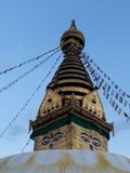 Den majestätiska buddhismmonumentet i den Thamel staden Arkivbilder