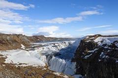 Den majestätiska vattenfallet i Island Royaltyfri Foto