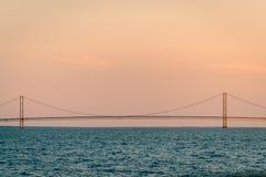 Den maktMackinac bron på solnedgången Arkivfoto