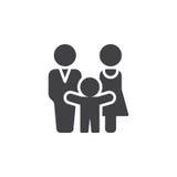 Den man-, kvinna- och barnsymbolsvektorn, fyllde det plana tecknet, den fasta pictogramen som isolerades på vit Arkivbild