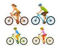 Den man-, kvinna-, pojke- och flickaridningsporten cyklar Utomhus- aktivitet för familj stock illustrationer