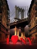 Den Manhattan bron älskar jag NY stock illustrationer