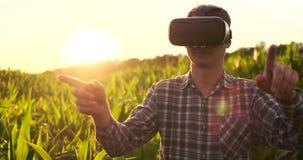 Den manliga bonden i virtuell verklighetexponeringsglas i fältet på solnedgången kontrollerar havrebevattningsystemet stock video