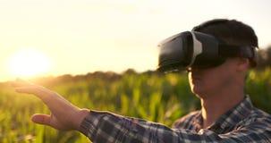 Den manliga bonden i virtuell verklighetexponeringsglas i fältet på solnedgången kontrollerar havrebevattningsystemet lager videofilmer