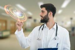 Den manliga doktorn gör ett peka finger att göra en gest, med medicinska symboler i bakgrund Royaltyfri Bild