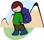 Den manliga fotvandraren i det gröna omslaget med en stor ryggsäck går till berget, vektor Fotografering för Bildbyråer
