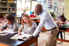 Den manliga högstadiet handleder Teaching Students In biologigrupp arkivbild
