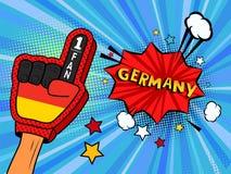 Den manliga handen i handsken för landsflaggan av en sportfan som lyfts upp att fira seger och Tysklandanförande, bubblar med stj stock illustrationer