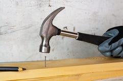 Den manliga handen i svart bulta för konstruktionshandske spikar med en hammare mot bakgrunden av en betongvägg arkivbild