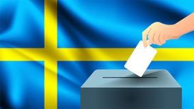 Den manliga handen sätter ner ett vitt ark av papper med en fläck som ett symbol av en valsedel mot bakgrunden av den Sverige fla vektor illustrationer
